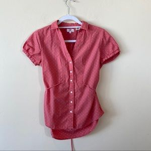 Adorable Levi's Pink and White Polka Dot Button Up